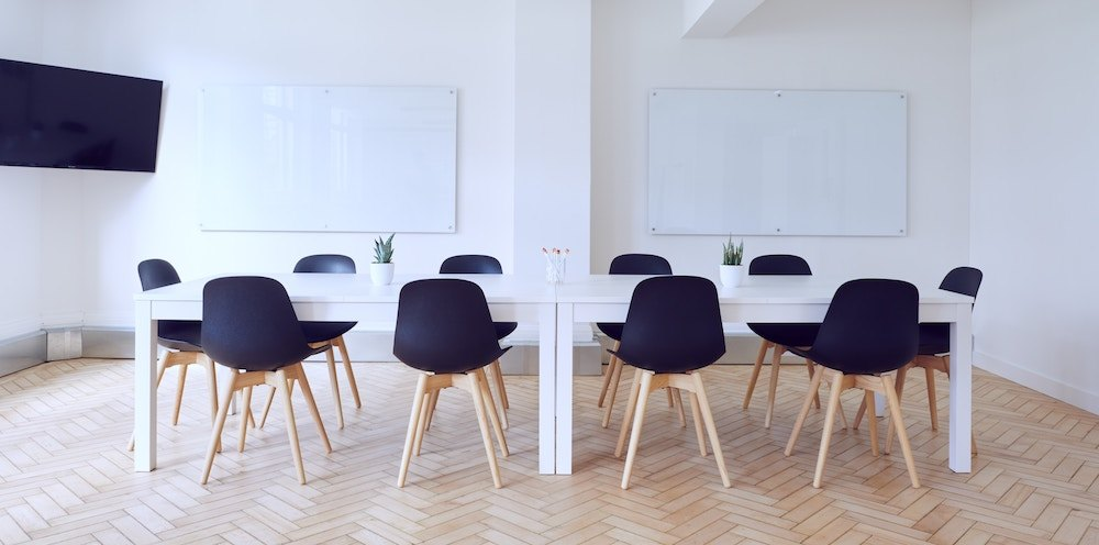 Modern-looking conference room.