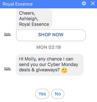 Royal Essence sends subscription broadcast using Facebook Messenger