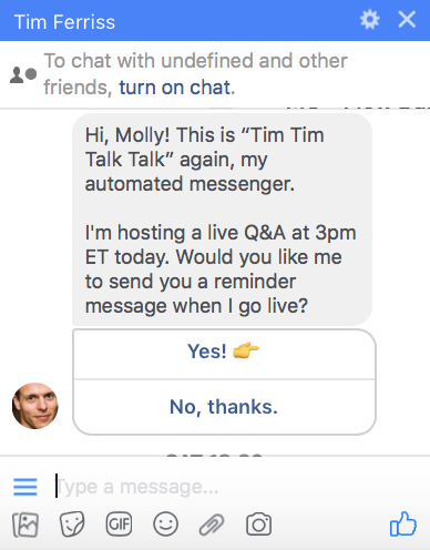 Tim Ferris sends subscription broadcasts using facebook messenger
