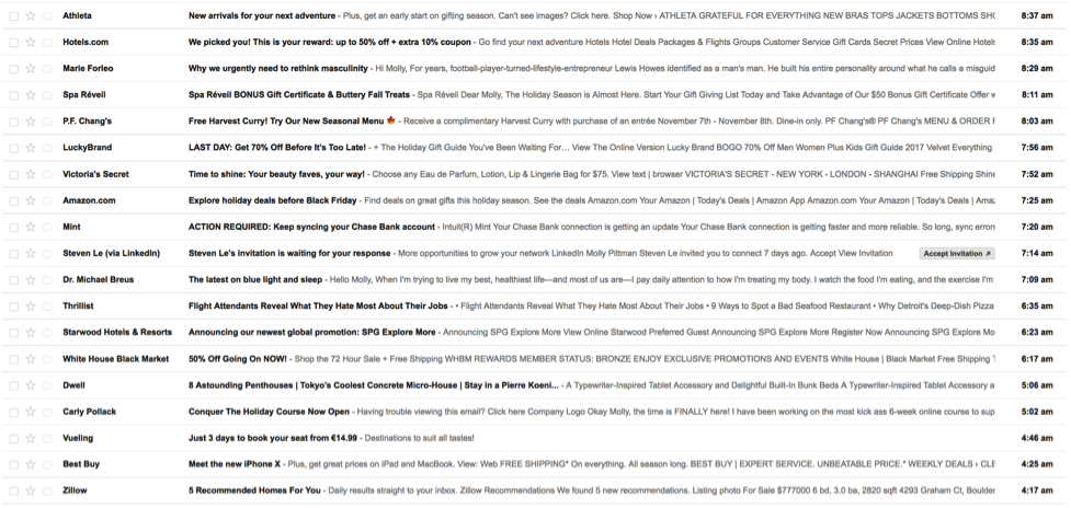 Example of full email inbox