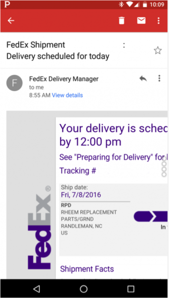 FedEx shipment mail on mobile not optimized