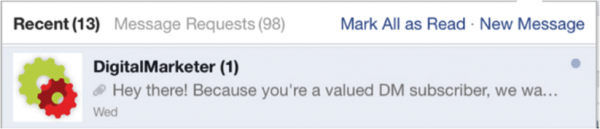 receive facebook message in facebook
