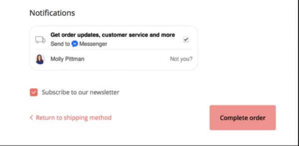 manychat messenger marketing order updates example