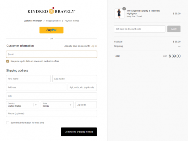 Kindred Bravely shopping cart page via messenger