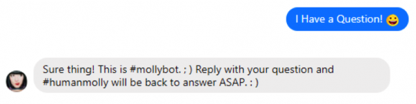 Molly Mahoney customer service messenger bot
