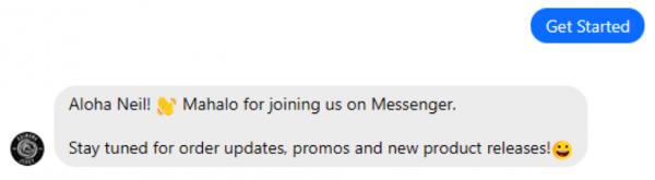 Kaimana Jerky welcome message via manychat messenger