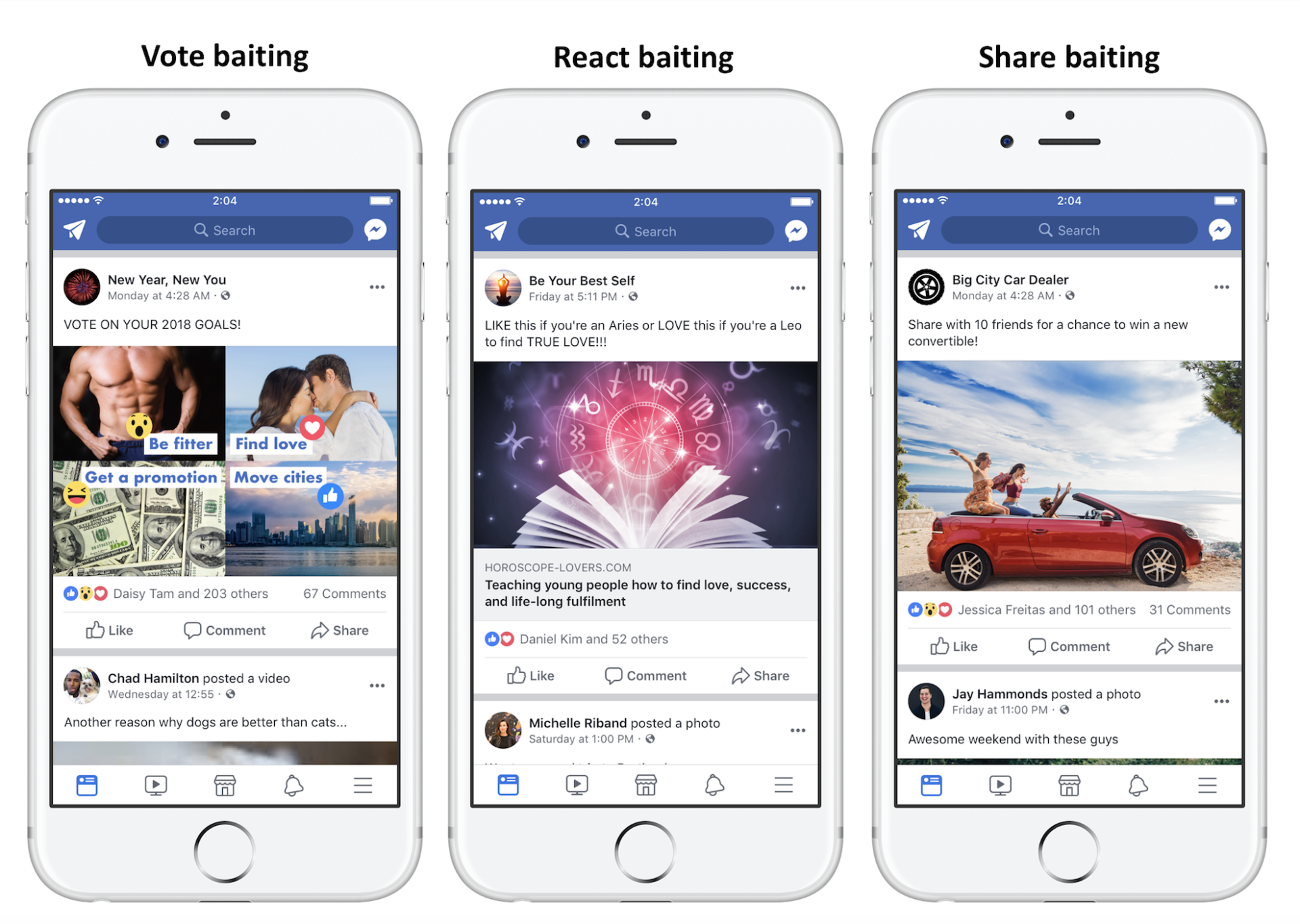 Facebook example of engagement bait