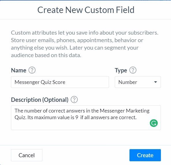Create Your First Chatbot Quiz | Create new custom field