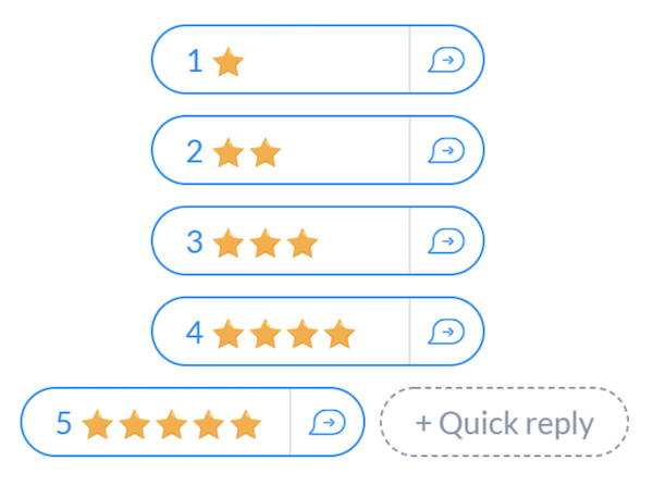 generate customer reviews   manychat quick replies star examples
