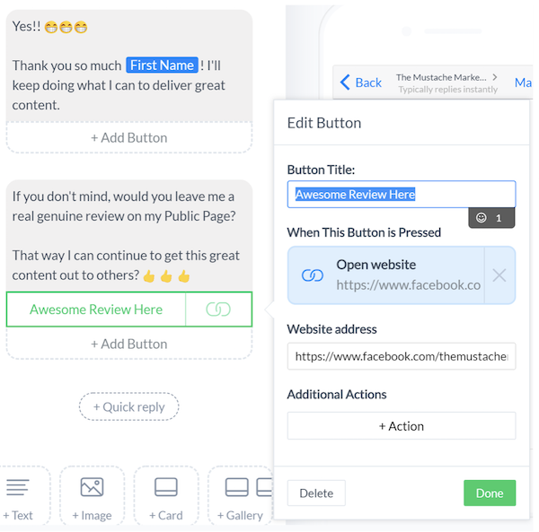 generate customer reviews   manychat quick reply sample text