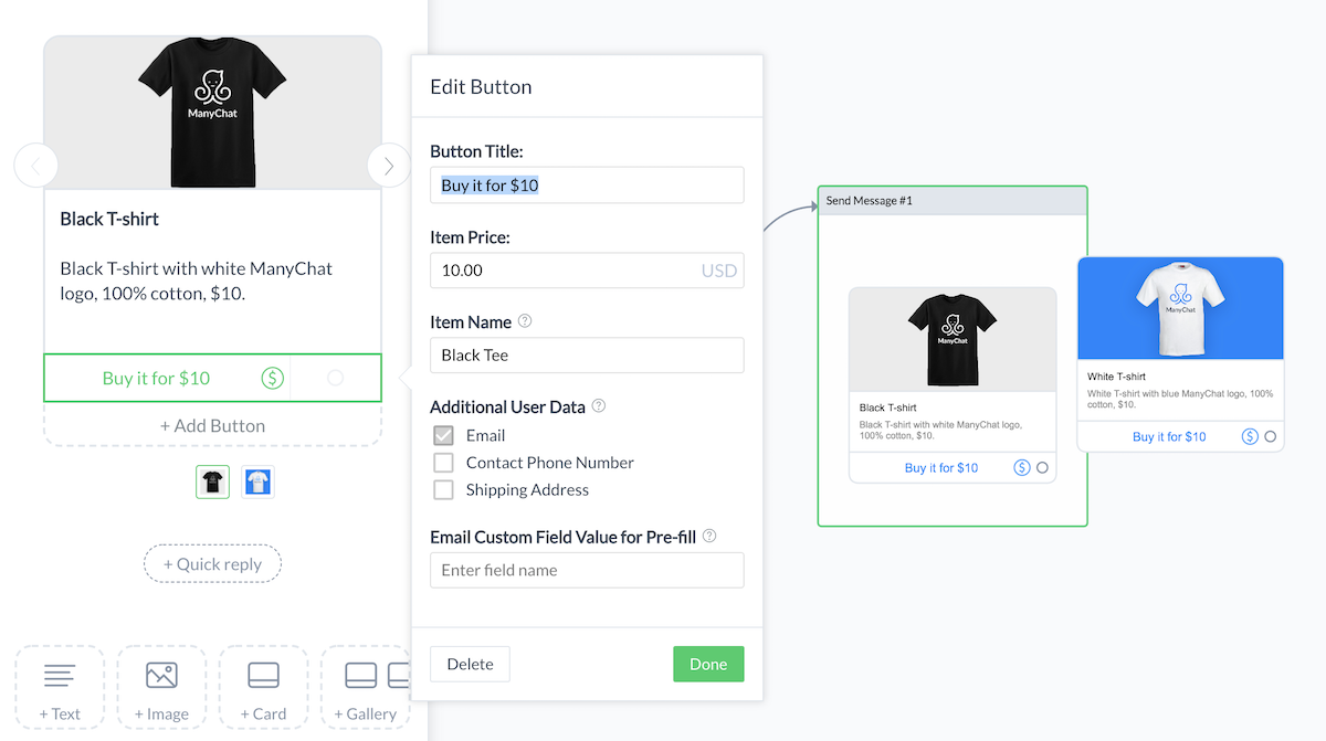 add a product in manychat payments dashboard