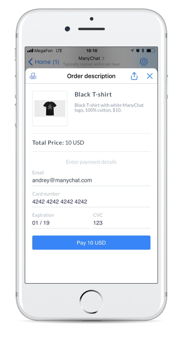order description example of Facebook Messenger Payments in ManyChat