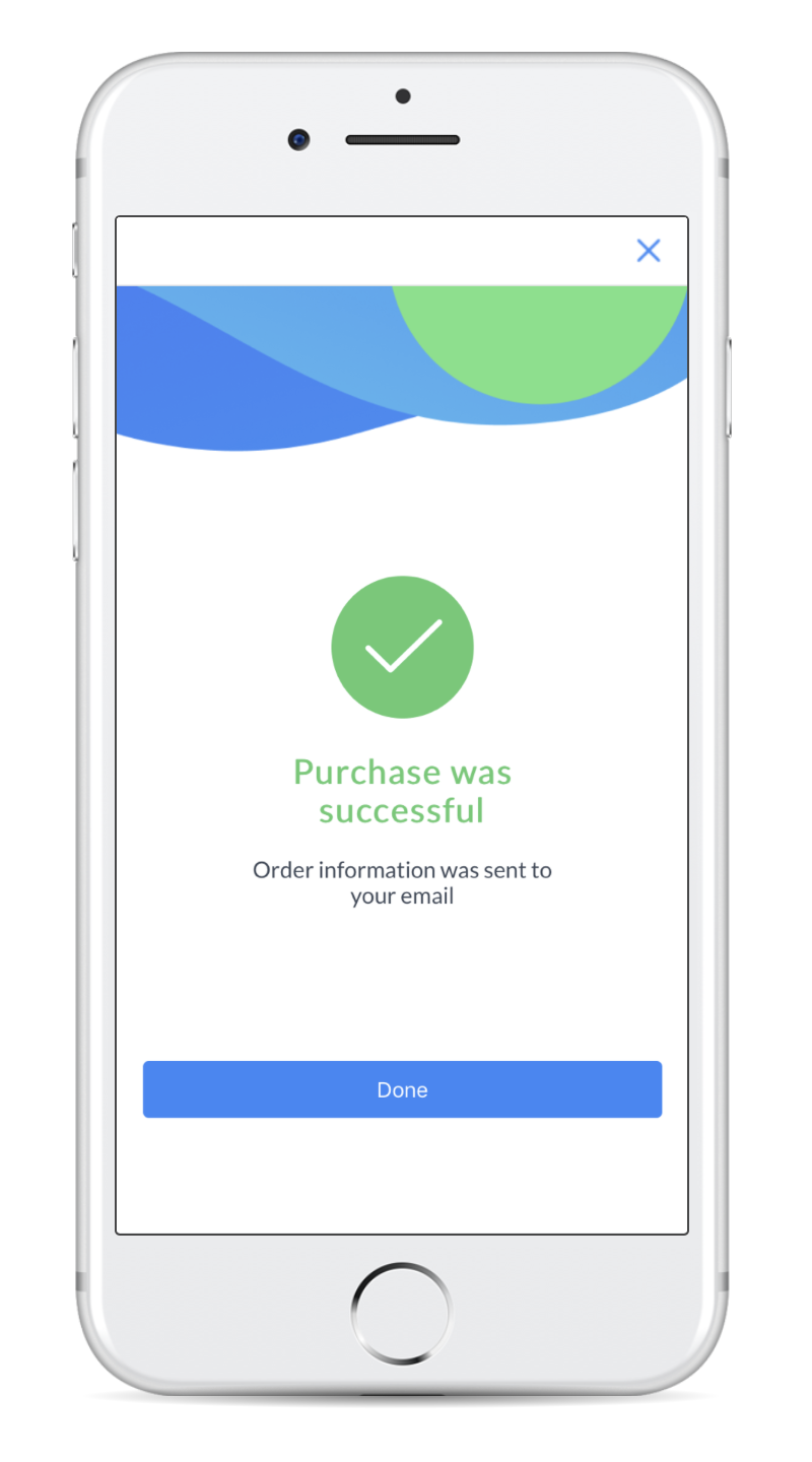 purchase was successful screen for Facebook Messenger Payment in ManyChat