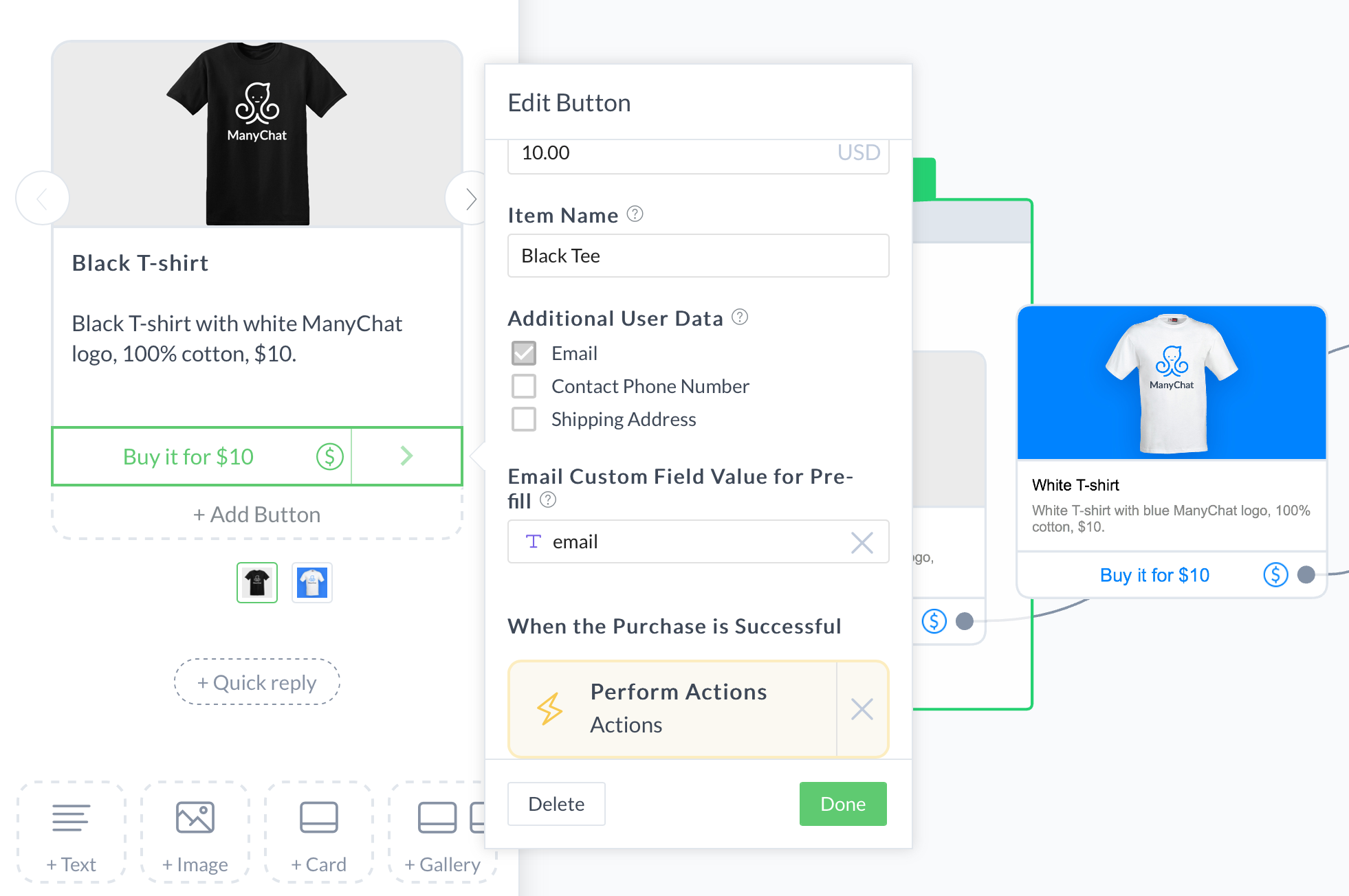 email custom fields dashboard for adding Facebook Messenger Payments in ManyChat