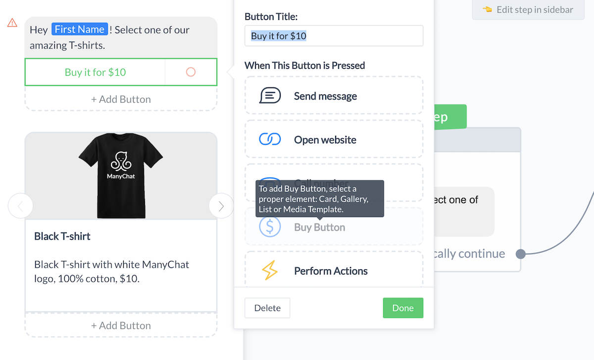 how to use the buy button in for Messenger Pay