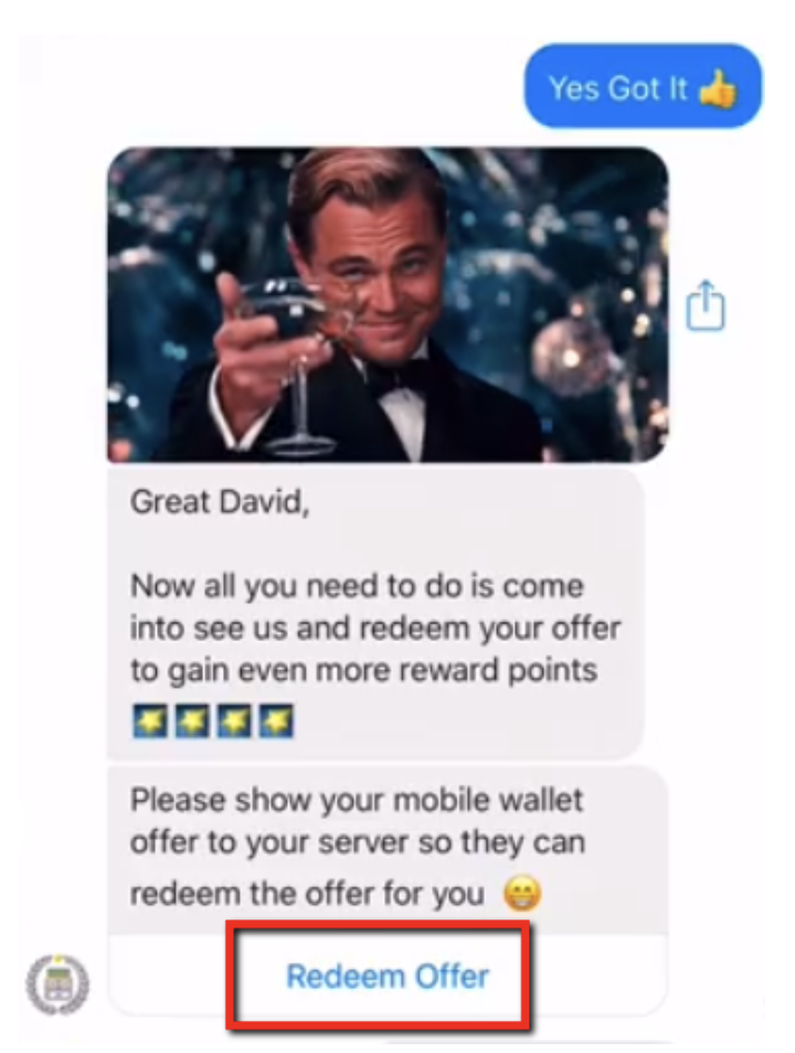 manychat message inside facebook messenger for loyalty program