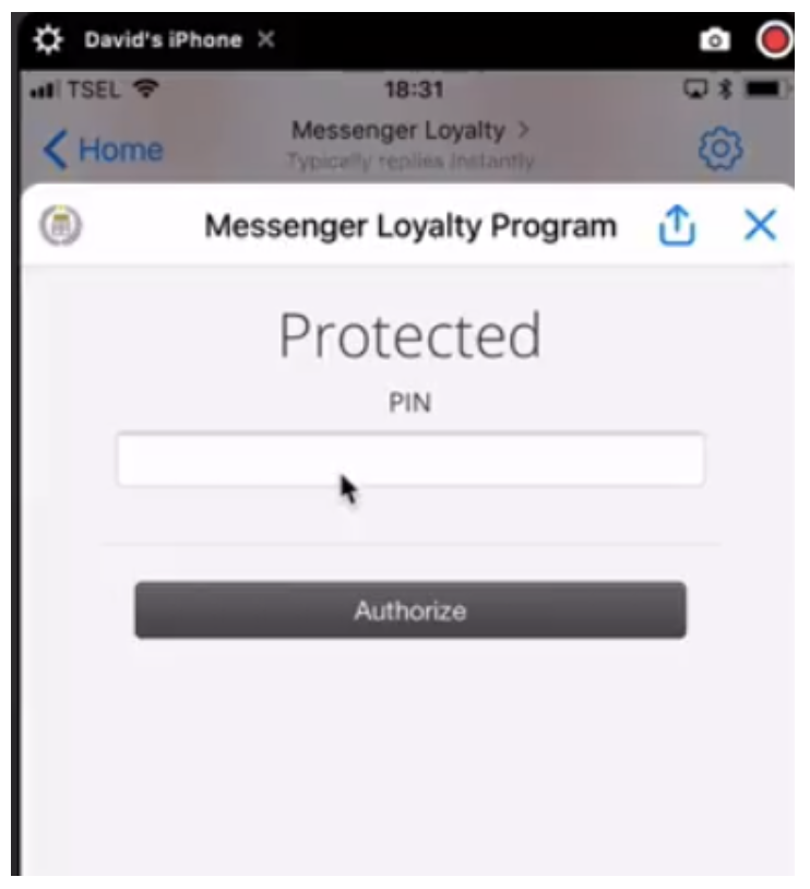 messenger loyalty program example with protected pin