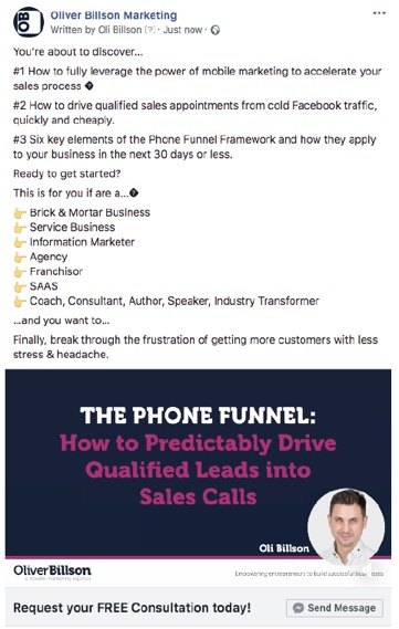Oli Billson Phone Funnel Framework Ad Example