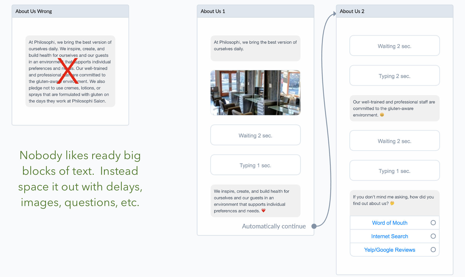 a well designed flow helps selling with chatbots