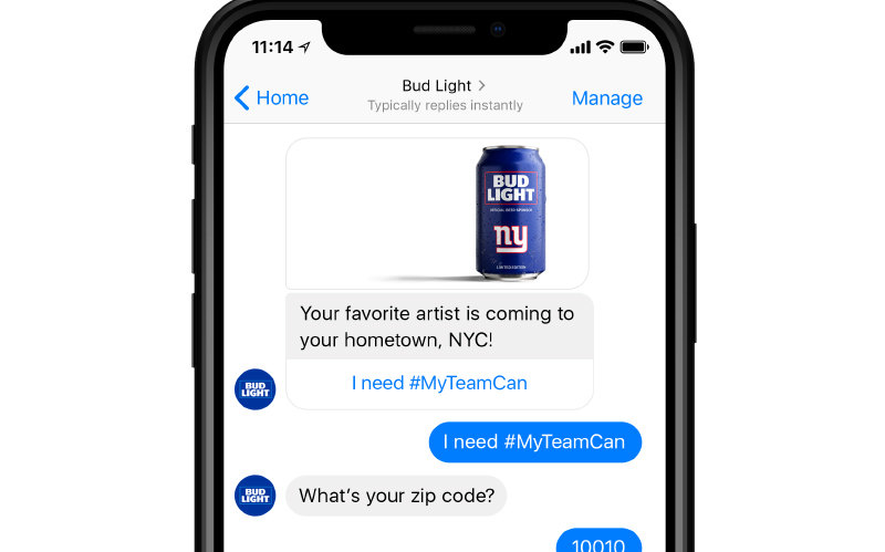 Bud Light Chatbot Example