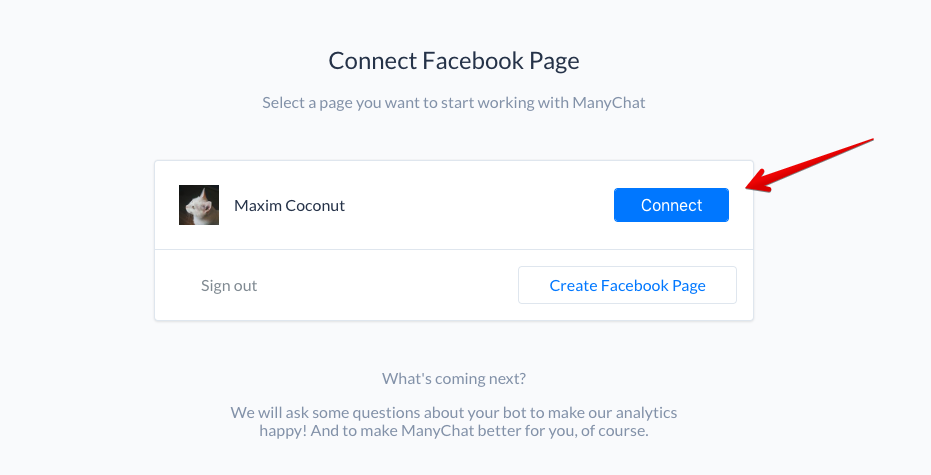Step 3 to Make A Facebook Messenger bot: Link your Facebook Business Page