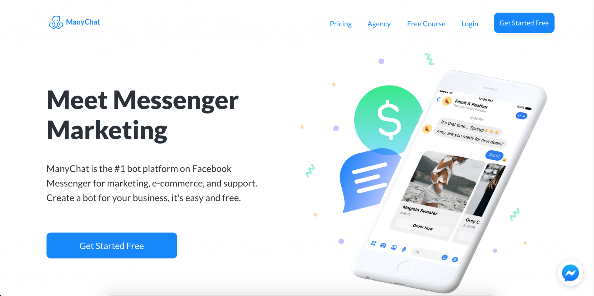 Step 2 to Make A Facebook Messenger bot: Create your free ManyChat account