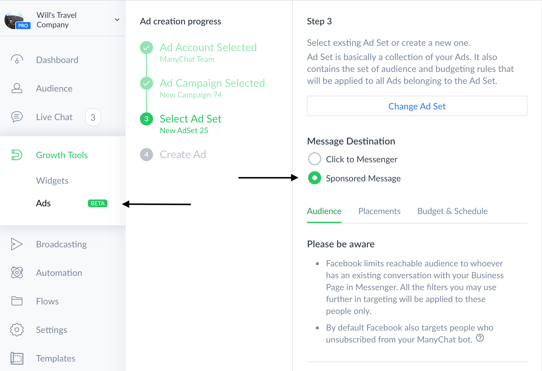 This images shows how you can build sponsored messages right inside ManyChat
