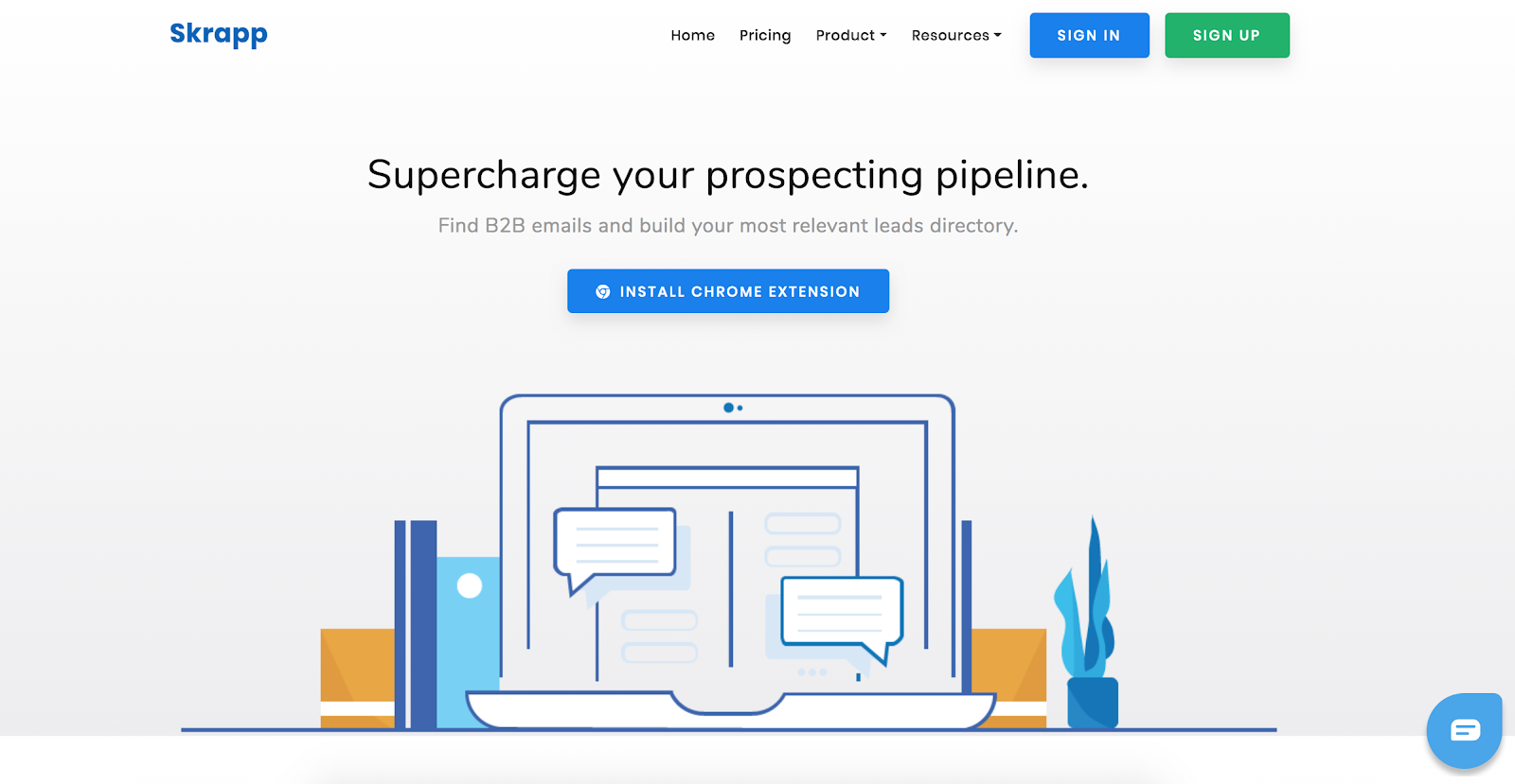Skrapp.io is the fourth Best B2B Lead Generation Tool example | The article is 21 of the Best B2B Lead Generation Tools for 2020