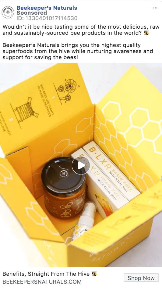 Facebook Video Ad Example - Beekeeper Naturals