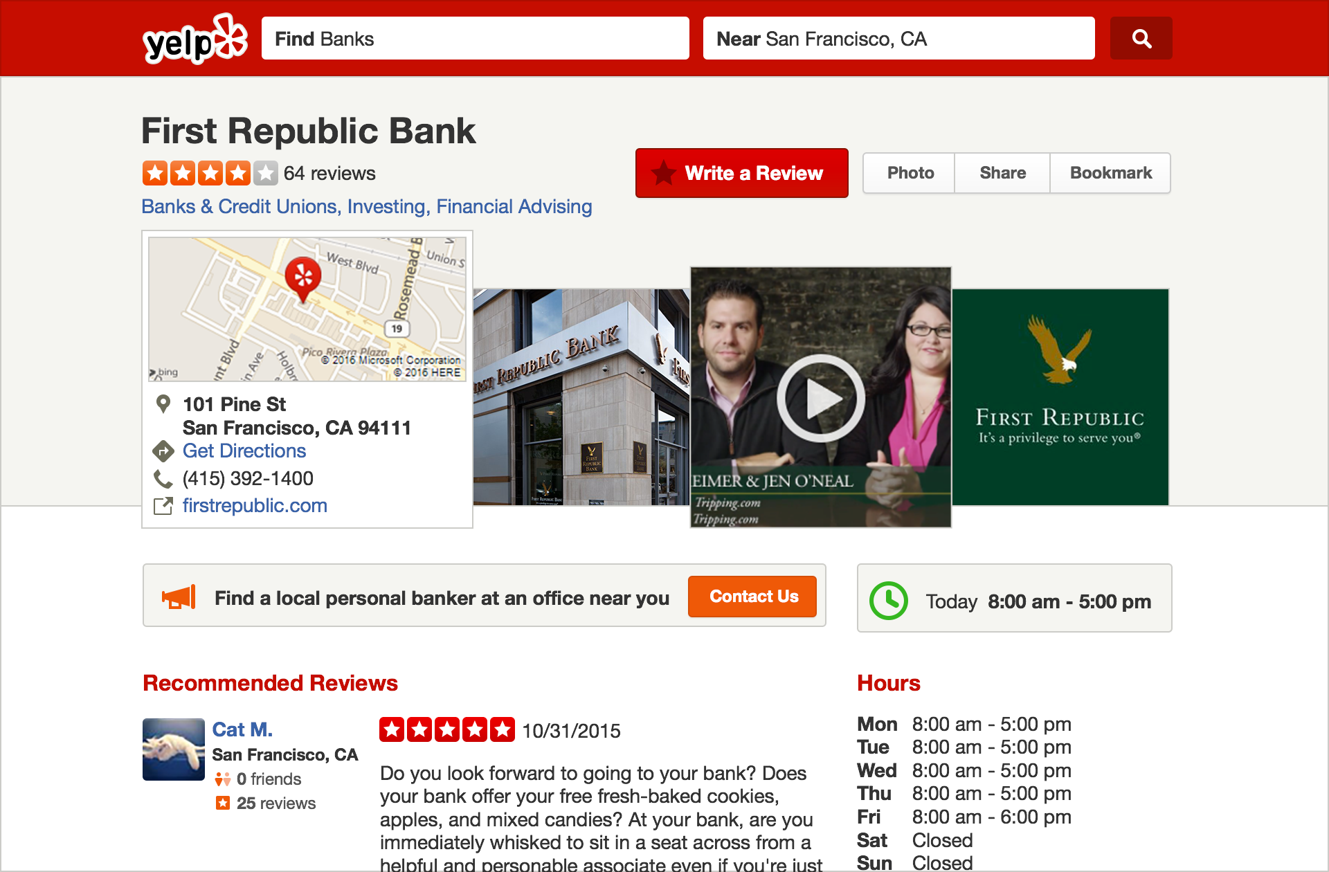 Yelp Listing Example