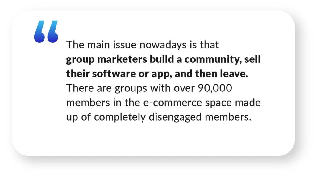 Quote about community marketers from Saleem Ahrar