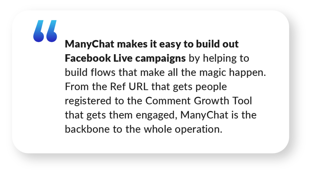 ManyChat Facebook Live Case Study