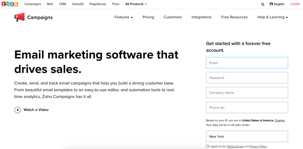 Zoho Forever Free Email Marketing Software