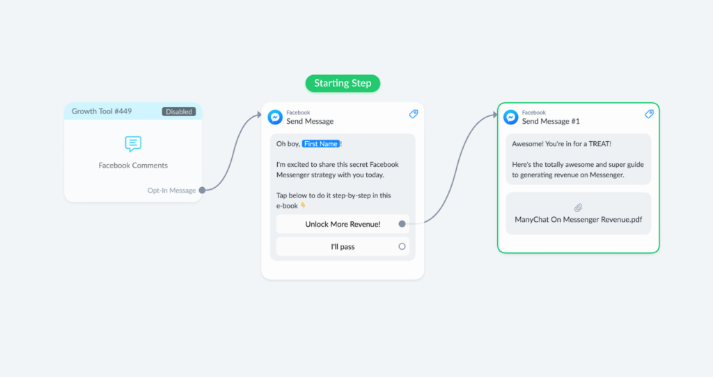 Facebook comments growth tool bot flow