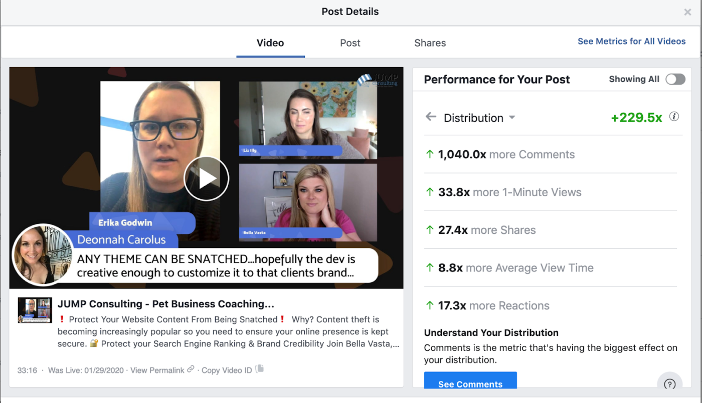 Facebook Live example for successful social media marketing campaigns