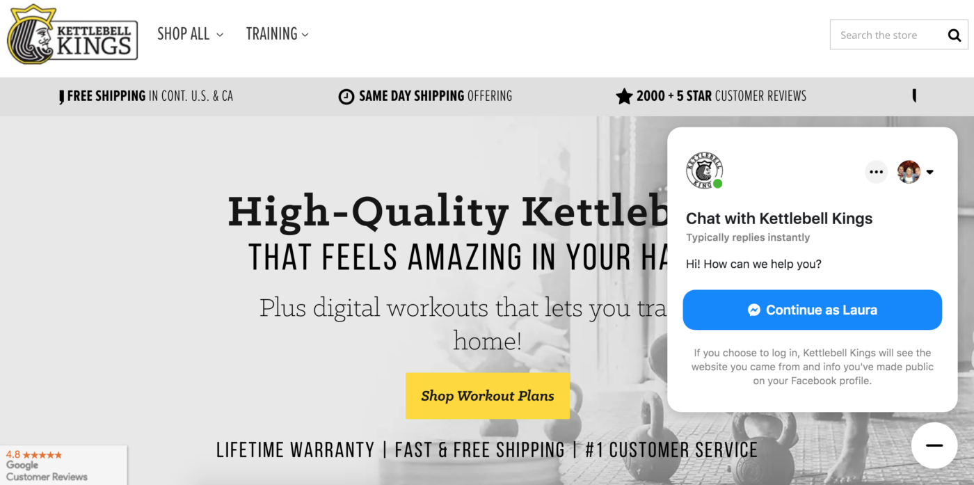 Kettlebell Kings Customer Chat example