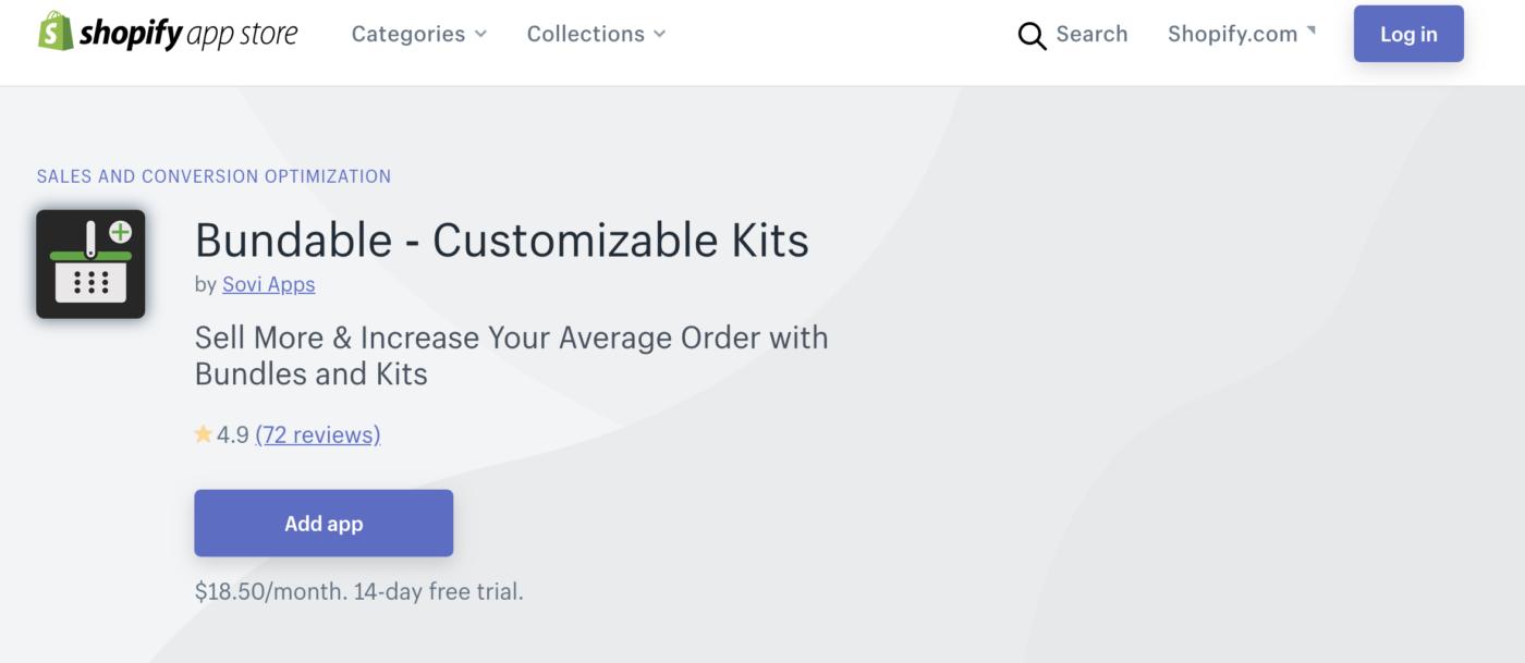 Bundable Shopify app
