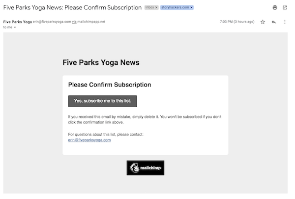 Five Parks Yoga Email List