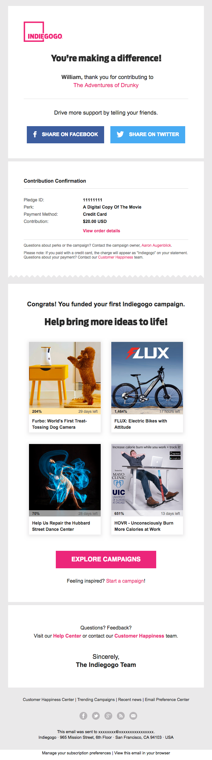 Transactional Email - Indiegogo
