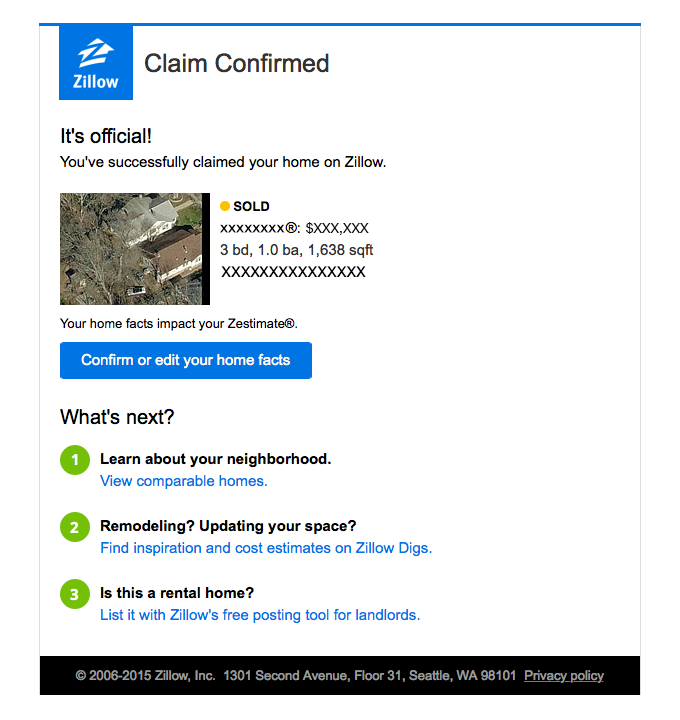 Transactional Email - Zillow