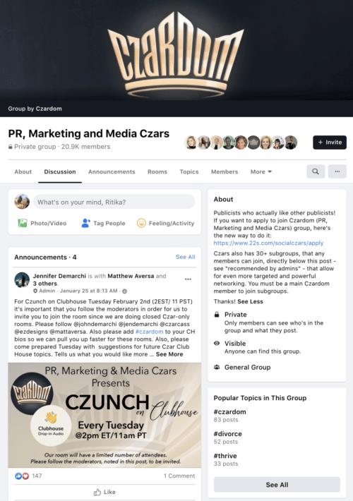 Facebook Groups - PR Czars
