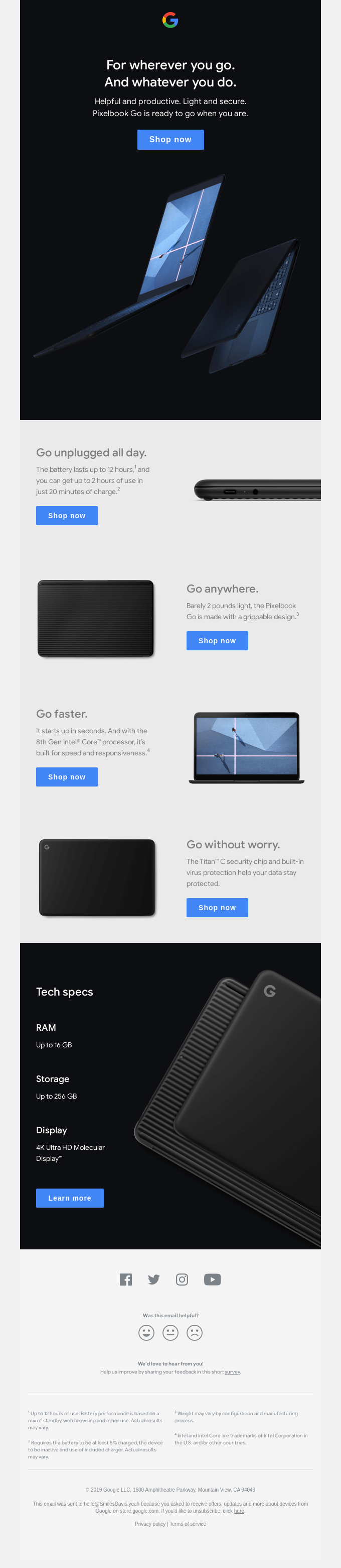 Google product launch email