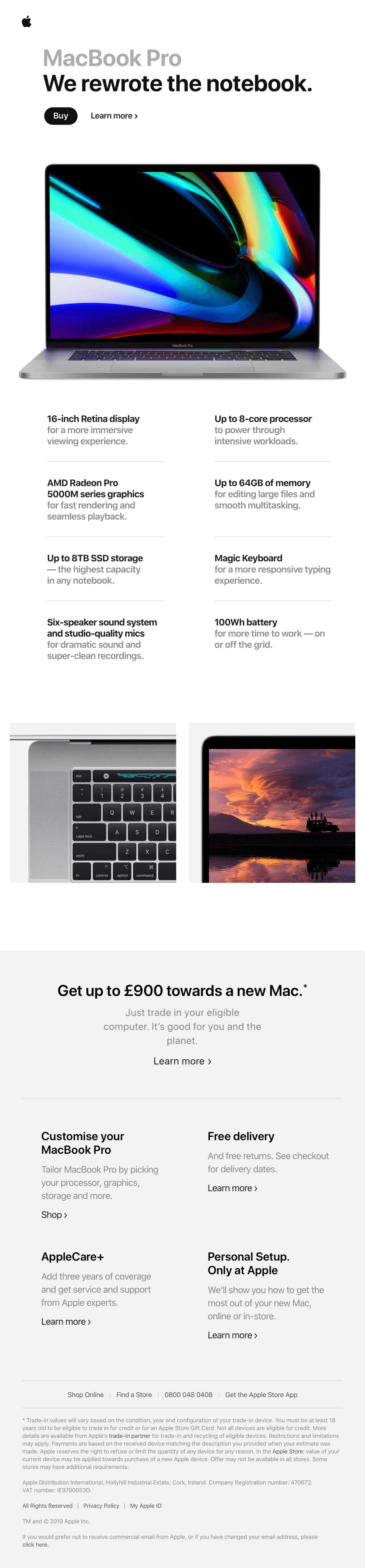 Apple product launch email