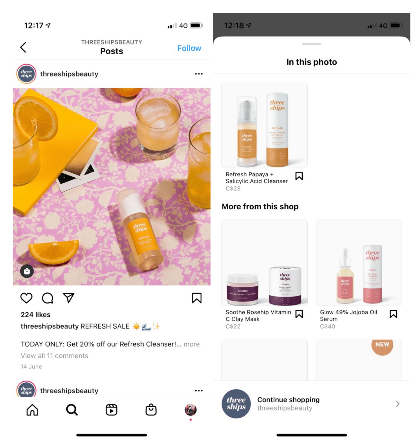 threeshipsbeauty shoppable post example