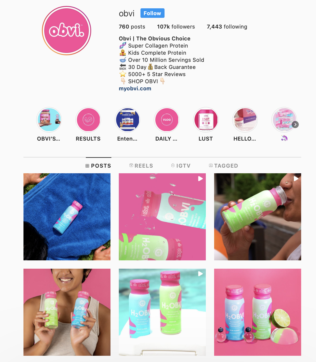 @Obvi incorporates its bright brand colors into its Instagram account via its profile picture, feed posts, and Story highlight covers.